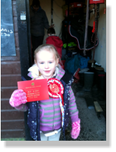 Child winning a award at our morning club in pembrey park riding centre carmarthenshire